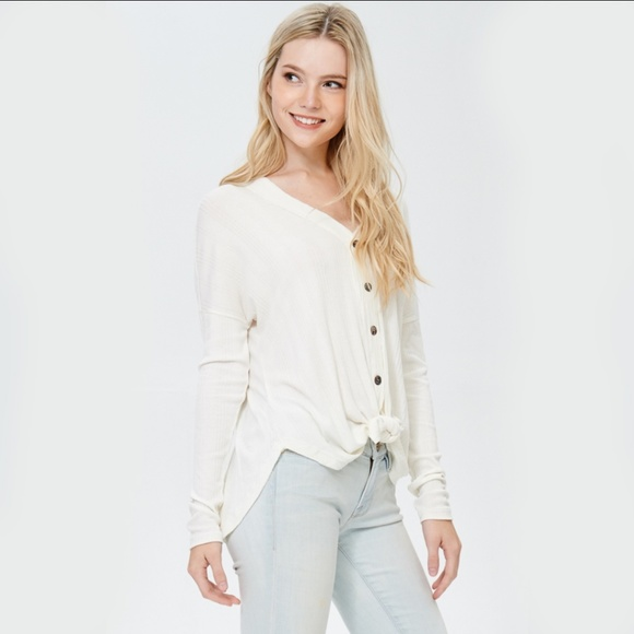 Tops - Thermal Knit Button Down Detailed Top